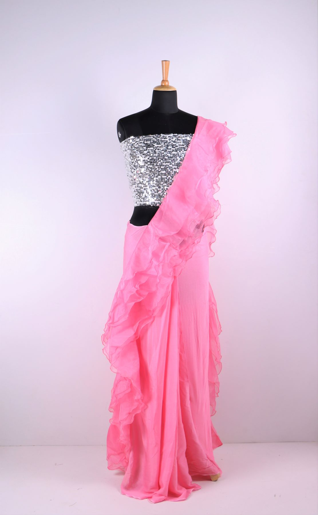 Organza Ruffle Saree With Waist Belt Fashion Casa
